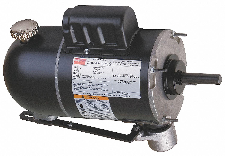 DAYTON Oscillating Fan Motor, 1/2 HP, Permanent Split Capacitor, Nameplate  RPM 1,075/875 - 5C040 5C040 - GraingerGrainger