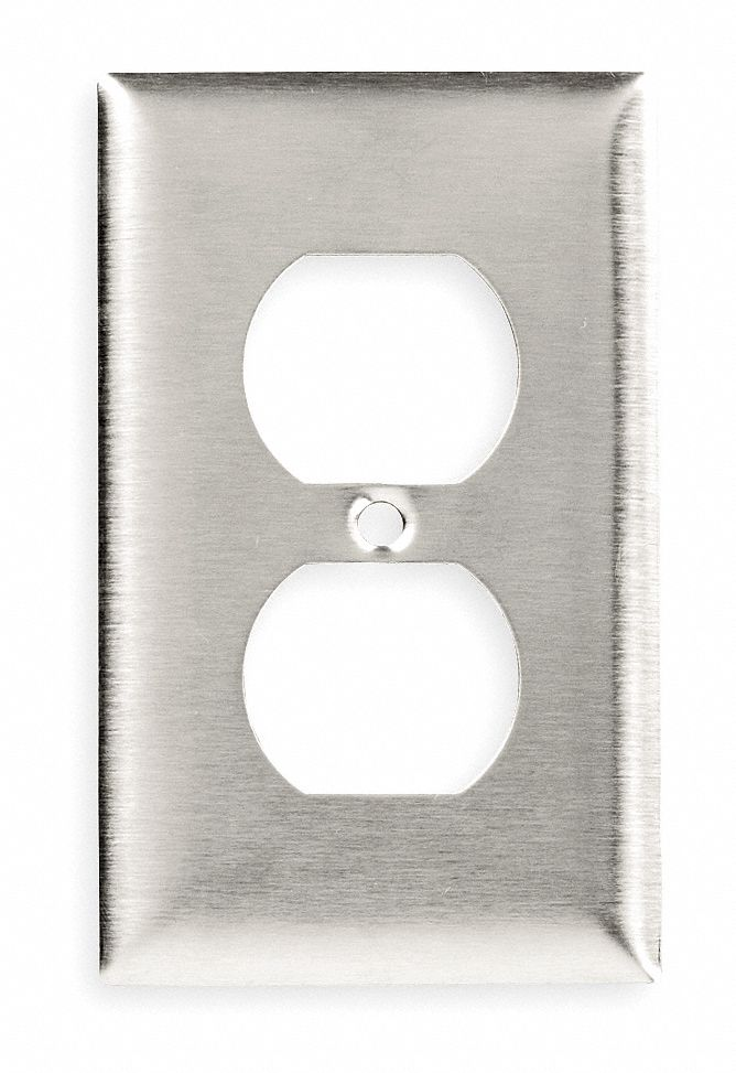 Duplex Receptacle Wall Plate,  Silver,  Number of Gangs 1,  Weather Resistant No