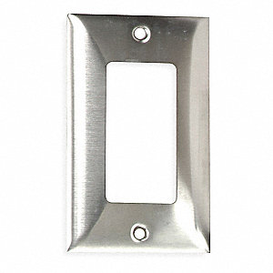 Rocker Wall Plate, Silver, Number of Gangs: 1, Weather Resistant: No