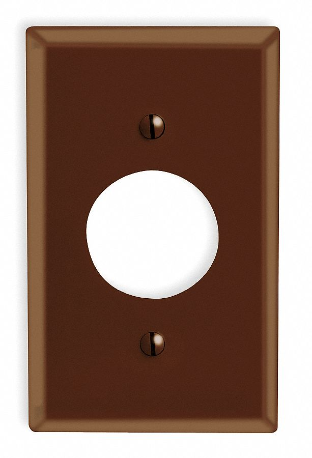 Single Receptacle Wall Plate,  Brown,  Number of Gangs 1,  Weather Resistant No