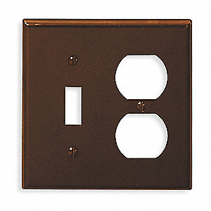 Toggle Switch/Duplex Receptacle Wall Plate, Brown, Number of Gangs: 2