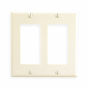 Rocker Wall Plate, Ivory, Number of Gangs: 2, Weather Resistant: No