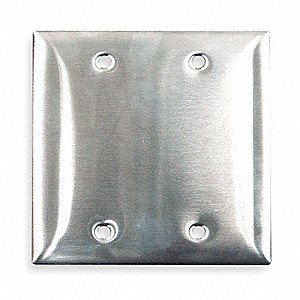 Blank Wall Plate,2 Gang,Silver