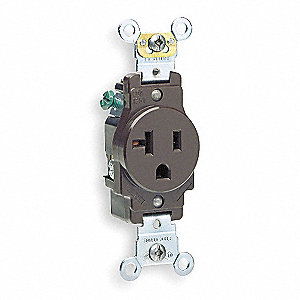Receptacle,Single,20A,5-20R,125V,Brown