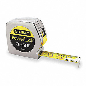 8m Steel SAE/Metric Long Tape Measure, Chrome