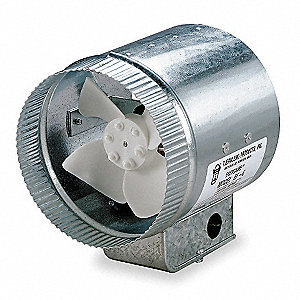 "Galvanized Steel Axial Duct Booster, Fits Duct Dia. 10"", Voltage 120V"