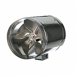 "Galvanized Steel Axial Duct Booster, Fits Duct Dia. 12"", Voltage 120V"