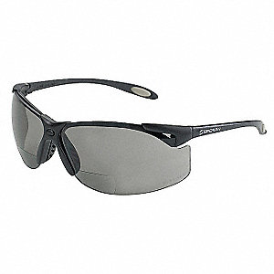 Gray Scratch-Resistant Bifocal Safety Reading Glasses, +2.5 Diopter