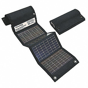 Solar Charger,Foldable,AA/USB,Blk,24x5.5
