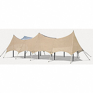Solar Field Shelter,2kW,Tan,22x40x14.6Ft