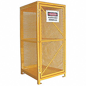 "Yellow Gas Cylinder Cabinet, 31"" Overall Width, 30"" Overall Depth, 65"" Overall Height, 9 Vertical Cy"