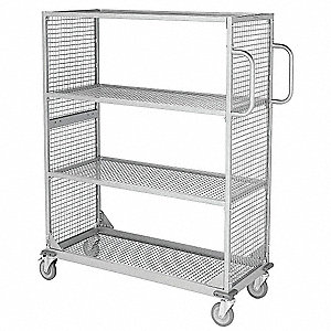 "Powder Coated Merchandising Cart, Silver, 20"" Shelf Width, 46"" Shelf Length"