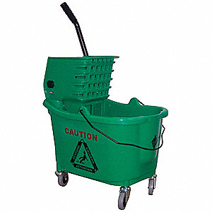 Green Plastic Mop Bucket and Wringer, 8-3/4 gal.