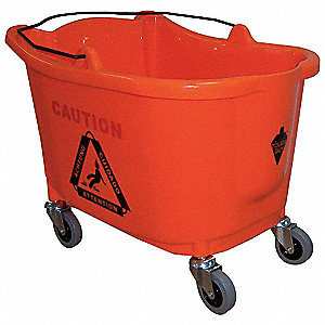 8-3/4 gal. Orange Plastic,  Polypropylene Mop Bucket, 1  EA