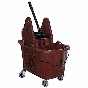 Brown Plastic Mop Bucket and Wringer, 8-3/4 gal.