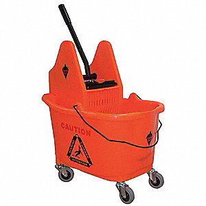 Orange Plastic Mop Bucket and Wringer, 8-3/4 gal.