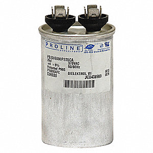 Round Motor Run Capacitor,12.5 Microfarad Rating,370VAC Voltage