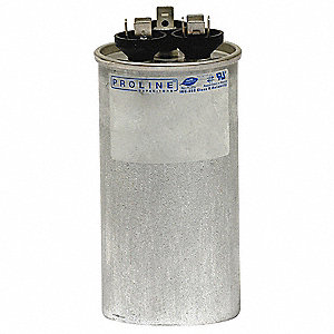 Round Motor Dual Run Capacitor,45/7.5 Microfarad Rating,370VAC Voltage