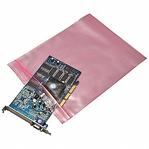 "12""L x 12""W Anti-Static Reclosable Poly Bag with Zip Seal Closure, Pink; 4 mil Thickness"