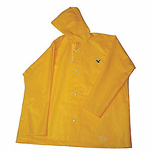 "Men's Gold Polyurethane Rain Jacket with Hood, Size 2XL, Fits Chest Size 52"" to 54"", 32"" Jacket Leng"