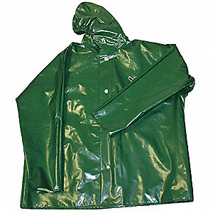 "Men's Green Polyurethane Rain Jacket with Hood, Size XL, Fits Chest Size 48"" to 50"", 31"" Jacket Leng"
