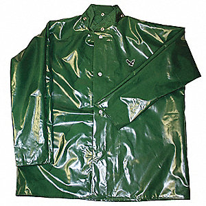 "Unisex Green Polyurethane Rain Jacket, Size M, Fits Chest Size 38"" to 40"", 32"" Jacket Length"