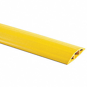 "Cable Protector, 1-Channel, Yellow, 5 ft.L x 1.1""H, Max. Cable Dia.: 3/4"""