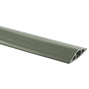 "Cable Protector, 1-Channel, Gray, 25 ft. x 1-1/64""H, Max. Cable Dia.: 3/4"""