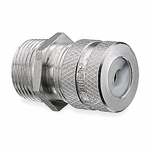 "Aluminum Liquid Tight Cord Connector, Conduit Size: 3/4"", 1-21/32"" Length"