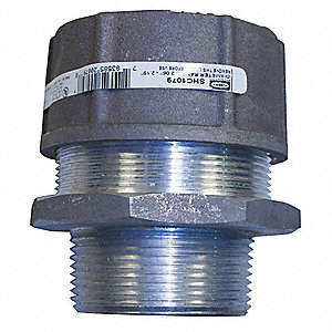 "Aluminum Cord Connector, Conduit Size: 2-1/2"", Cord Dia. Range: 2.06"" to 2.19"""
