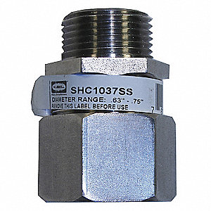 "Stainless Steel Liquid Tight Cord Connector, Conduit Size: 3/4"", 1-55/64"" Length"