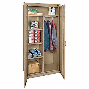 "Commercial Storage Cabinet, Tropic Sand, 78"" H X 36"" W X 24"" D, Assembled"