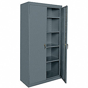 "Storage Cabinet, Charcoal, 72"" Overall Height, Assembled"