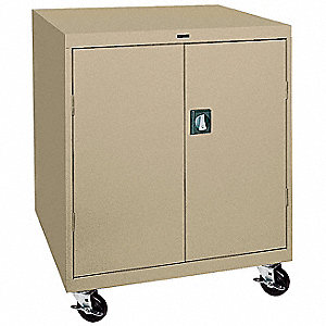 "Mobile Storage Cabinet, Sand, 48"" Overall Height, Assembled"