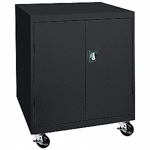 "Mobile Storage Cabinet, Black, 48"" Overall Height, Assembled"
