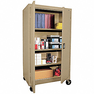 "Mobile Storage Cabinet, Sand, 66"" Overall Height, Assembled"