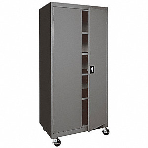 "Mobile Storage Cabinet, Charcoal, 78"" Overall Height, Assembled"
