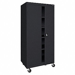 "Mobile Storage Cabinet, Black, 78"" Overall Height, Assembled"