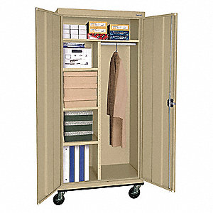 Mobile Combination Storage Cabinet,Sand