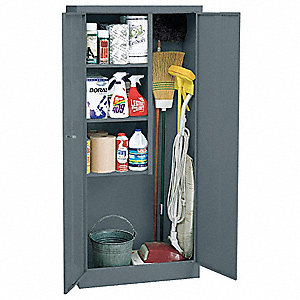"Storage Cabinet, Charcoal, 66"" Overall Height, Assembled"