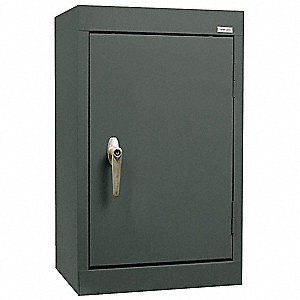 "Charcoal Wall Mount Storage Cabinet, 26"" Overall Height, 18"" Overall Width, Number of Shelves 1"