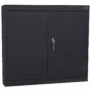 "Black Wall Mount Storage Cabinet, 30"" Overall Height, 30"" Overall Width, Number of Shelves 2"