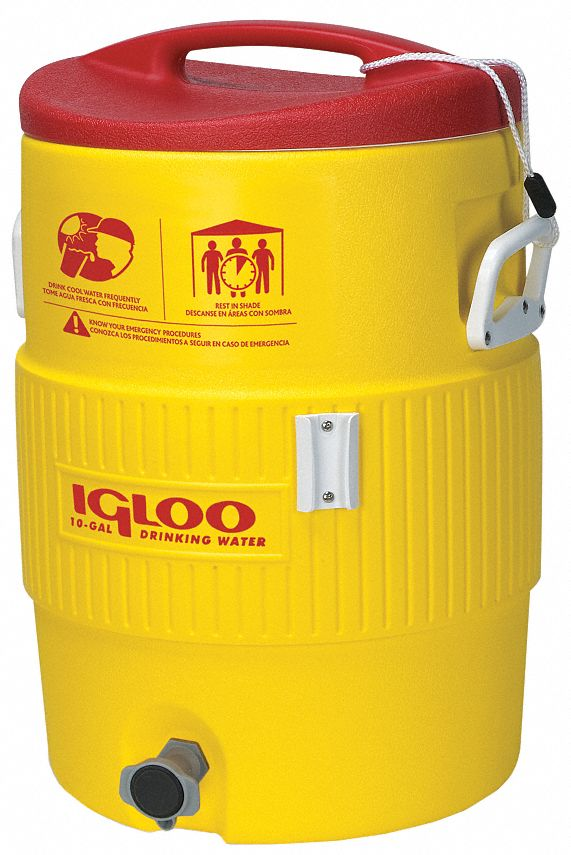 Plastic,  5.0 gal,  Beverage Dispenser,  Up to 2 days Ice Retention,  Yellow