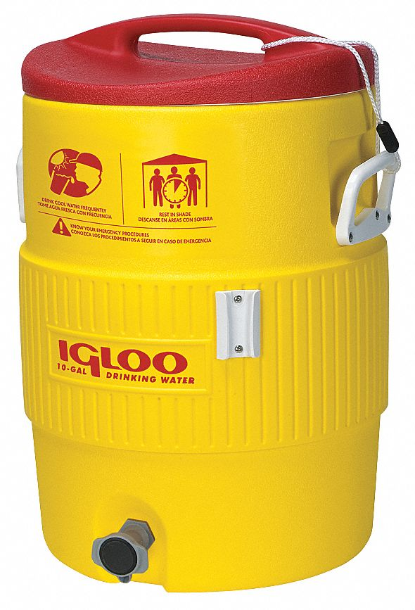 Plastic,  10.0 gal,  Beverage Dispenser,  Up to 2 days Ice Retention,  Yellow