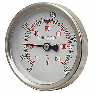 Bimetal Thermom,2-1/2 In Dial,30to250F