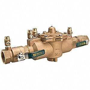 Reduced Pressure Zone Backflow Preventer, Lead Free Brass, Watts 009 Series, IPS Connection
