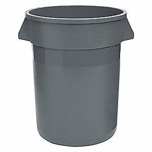 "32 gal. Round Open Top Utility Trash Can, 27-1/4""H, Gray"