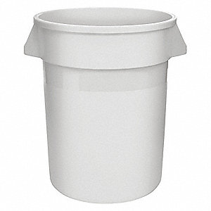 "32 gal. Round Open Top Utility Trash Can, 27-1/4""H, White"