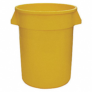 "44 gal. Round Open Top Utility Trash Can, 32""H, Yellow"