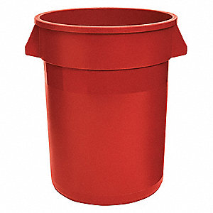 "32 gal. Round Open Top Utility Trash Can, 27-1/4""H, Red"